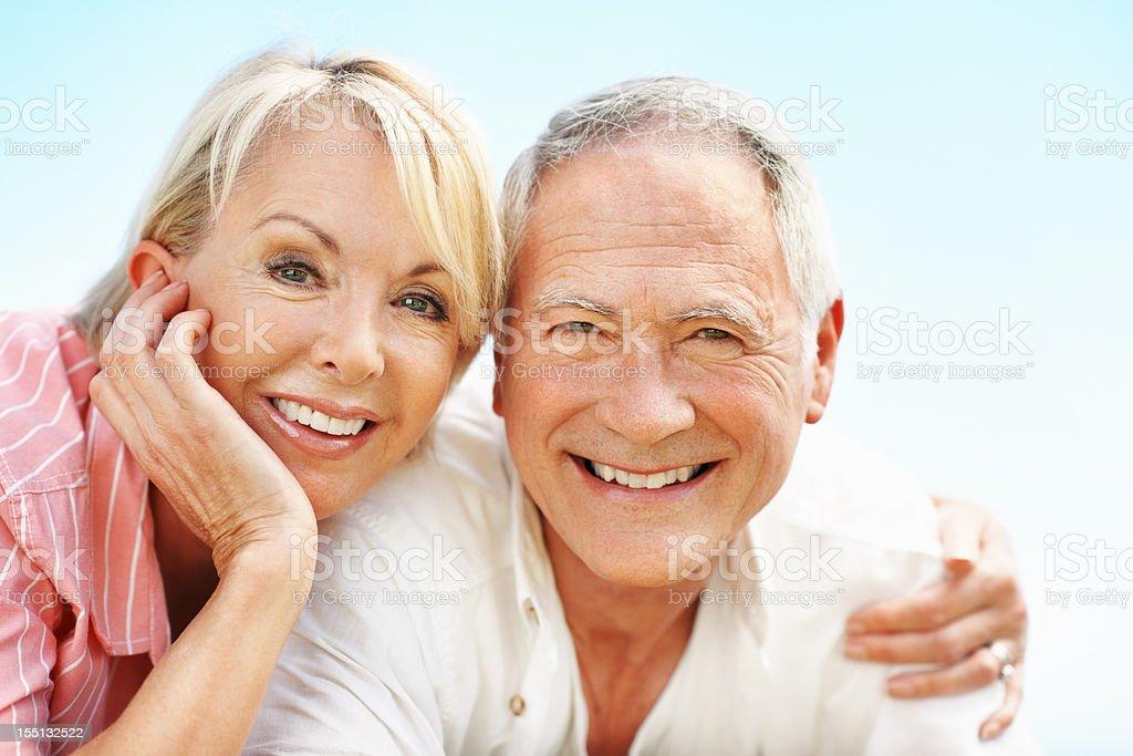 Beautiful senior couple smiling together royalty-free stock photo