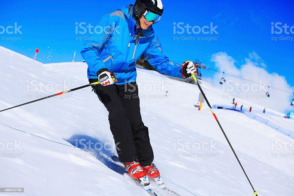 Beautiful senior men snow skier skiing on sunny ski resorts stock photo