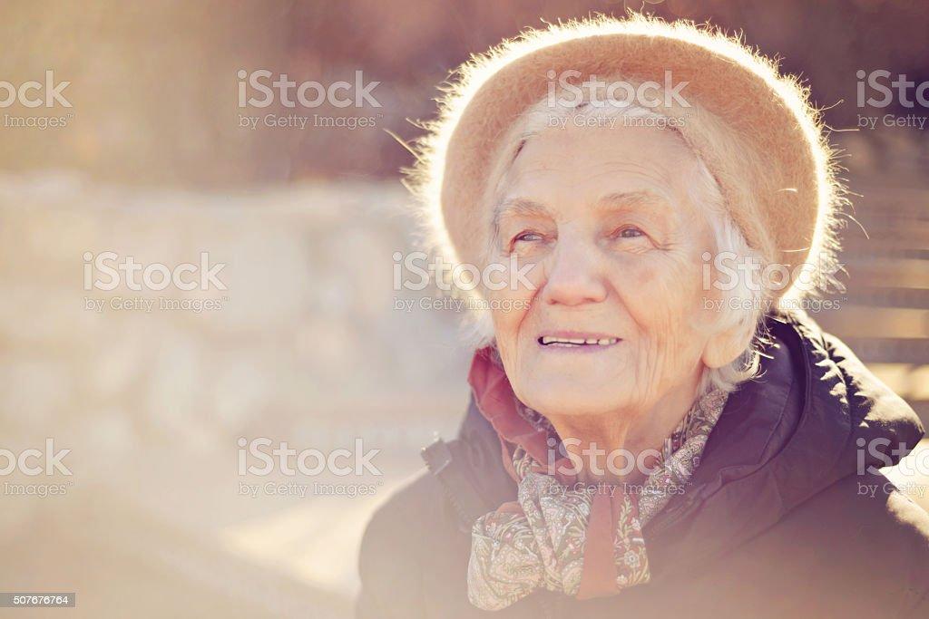 Beautiful Senior Woman Happy Look stock photo