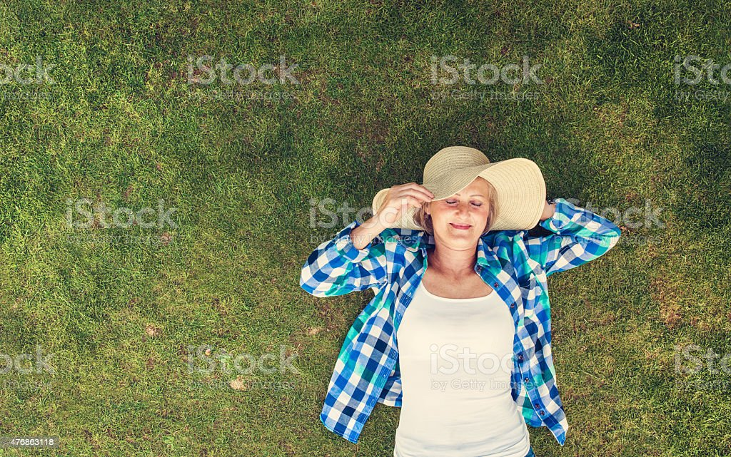 Beautiful senior woman in nature stock photo
