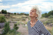 Beautiful Senior Woman Portrait Happy Dreamy Expression