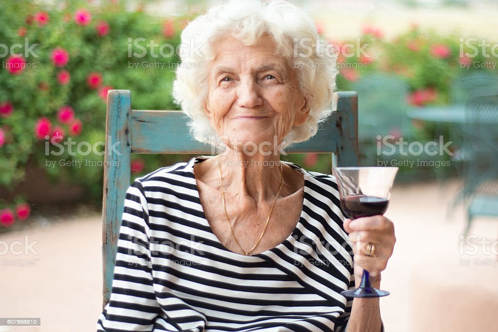 Beautiful Senior Woman Portrait Smug Expression stock photo