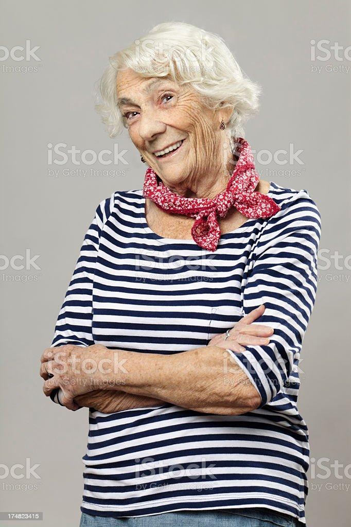 Beautiful senior woman smiling at camera royalty-free stock photo