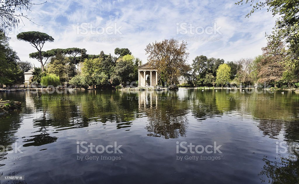 Beautiful serene view of Villa Borghese, in Rome, Italy stock photo