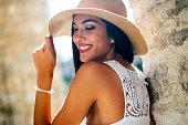 Beautiful sesnsual woman in hat