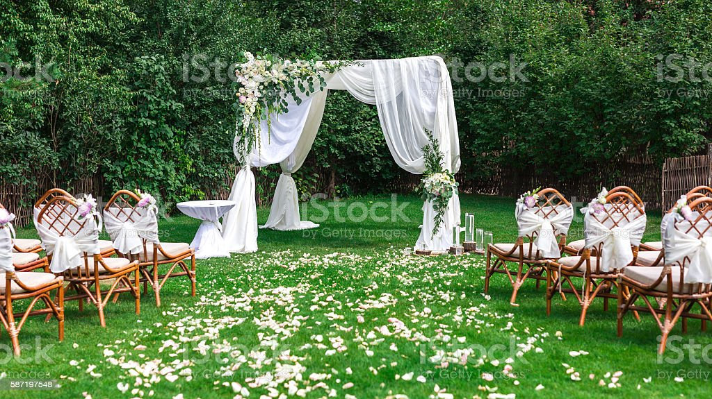 Beautiful setting for outdoors wedding ceremony stock photo
