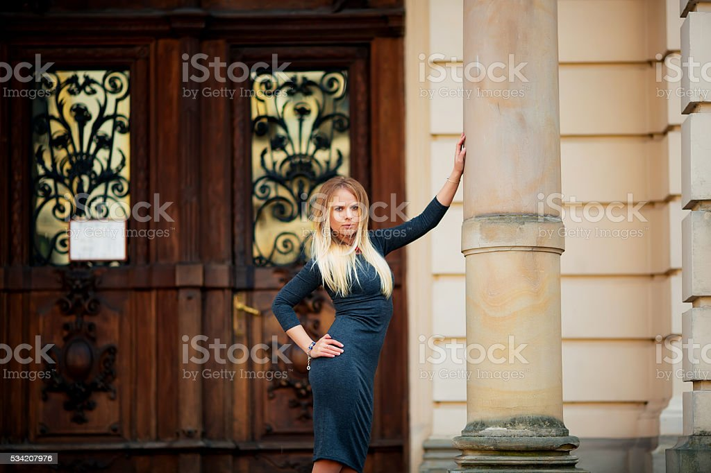 Beautiful sexy blonde female model, looking into the camera royalty-free stock photo