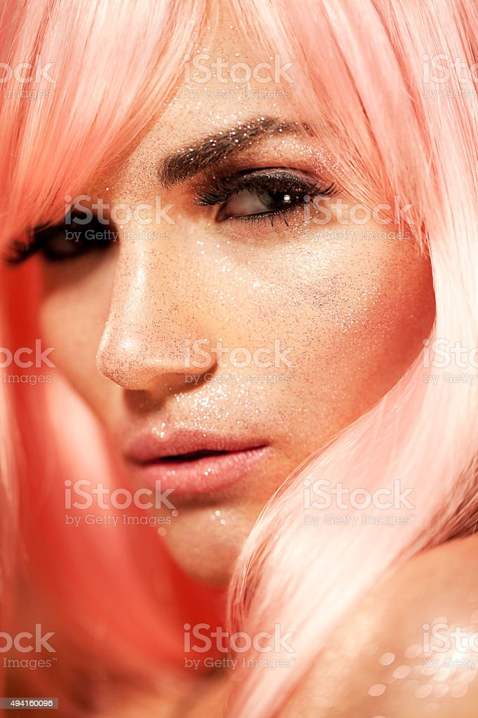 Beautiful Sexy Fashion Model Close Up Makeup Portrait with Glitter stock photo