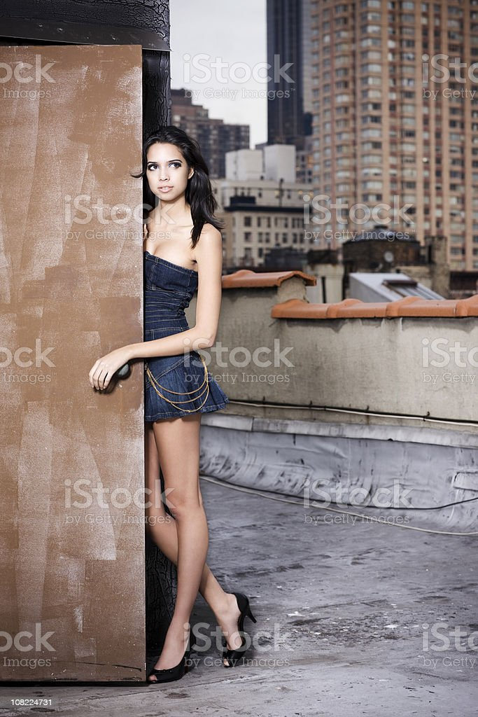 Beautiful Sexy Female Fashion Model in Mini Skirt on Rooftop royalty-free stock photo