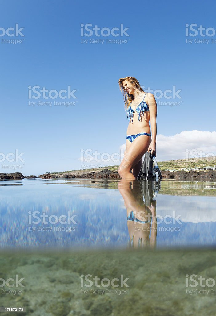 Beautiful Sexy Female Snorkeler royalty-free stock photo