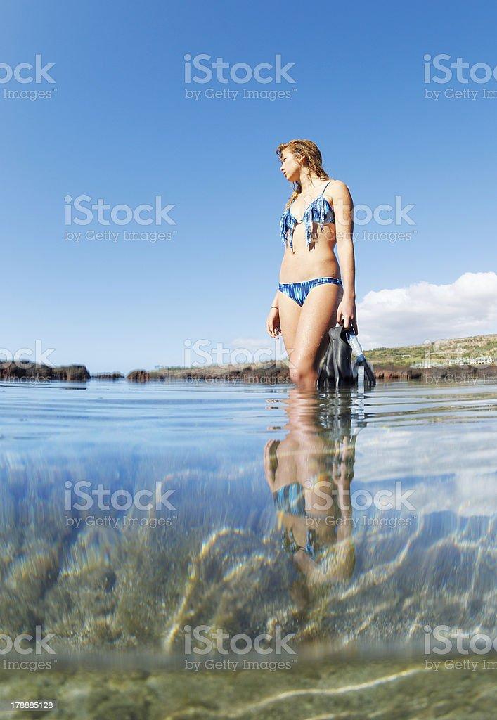 Beautiful Sexy Female Snorkeler royalty-free stock photo
