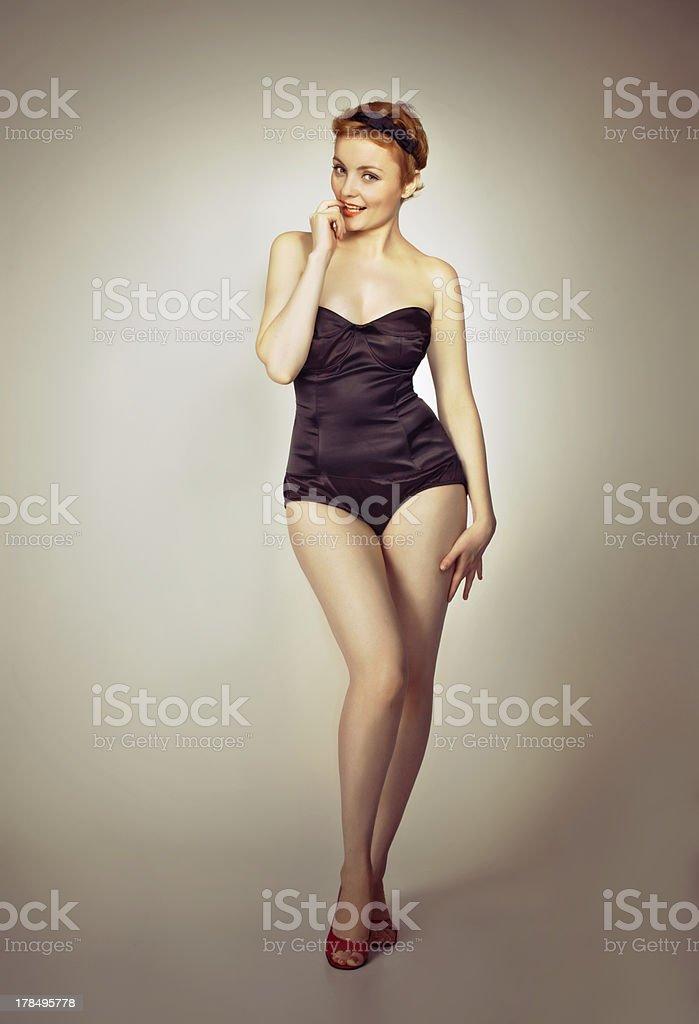 beautiful sexy  pin-up girl in black corset stock photo