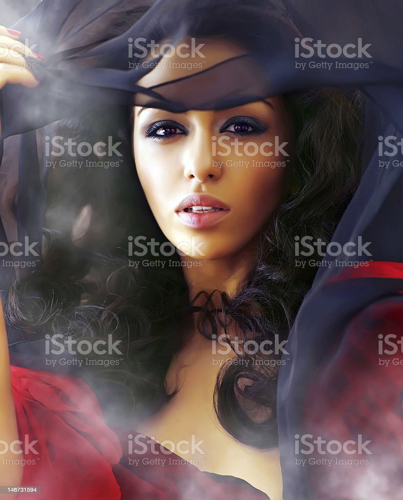Beautiful sexy woman in clubs of a smoke royalty-free stock photo