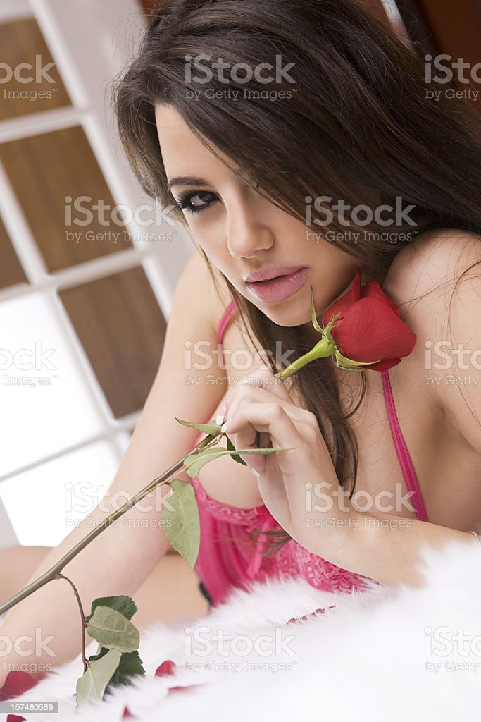 Beautiful Sexy Woman in Lingerie Laying on Bed Holding Rose royalty-free stock photo