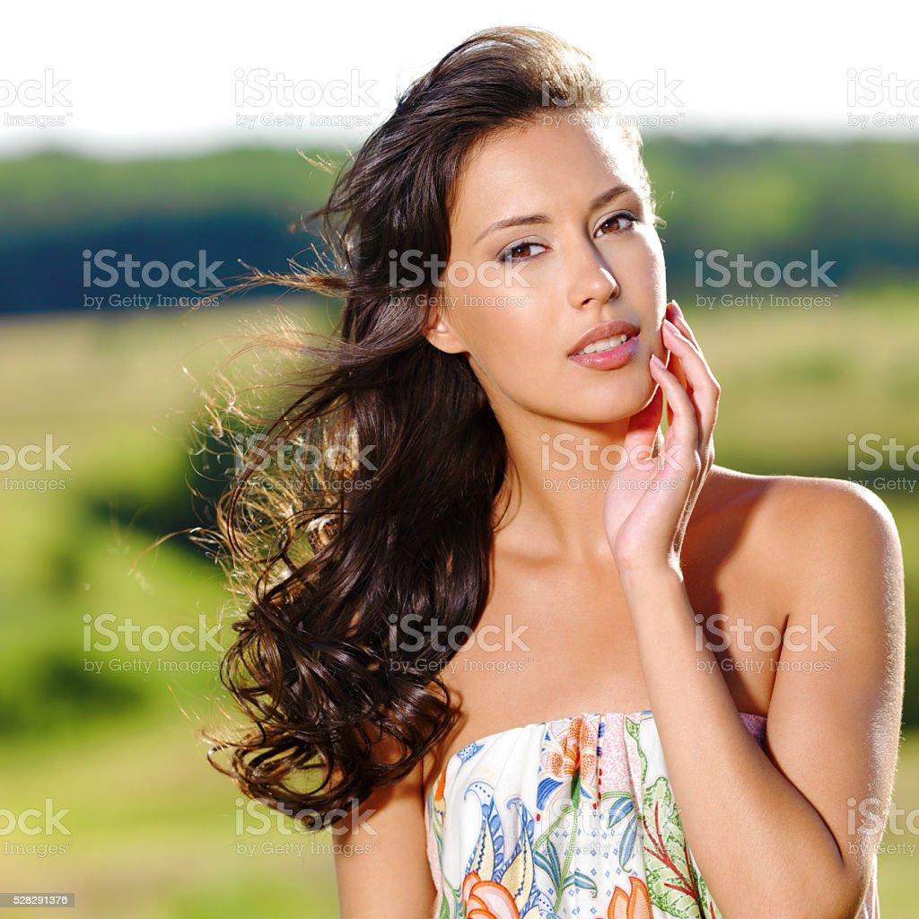 beautiful sexy woman on the nature stock photo