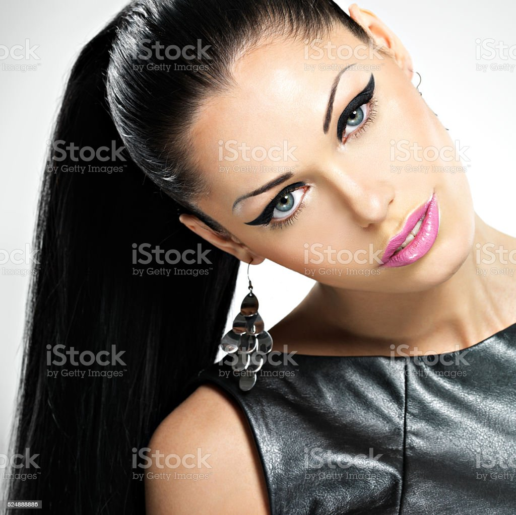 beautiful sexy  woman with glamour fashion makeup of eyes and stock photo
