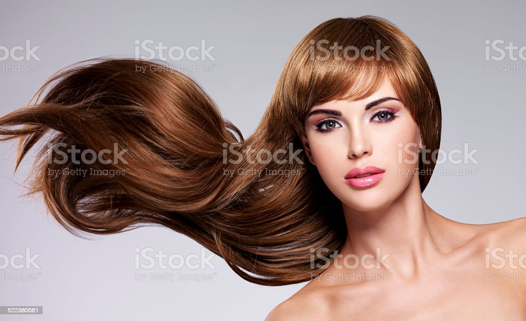 Beautiful sexy woman with long  hair stock photo