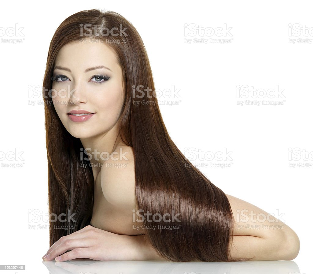 Beautiful sexy woman with long hairs stock photo