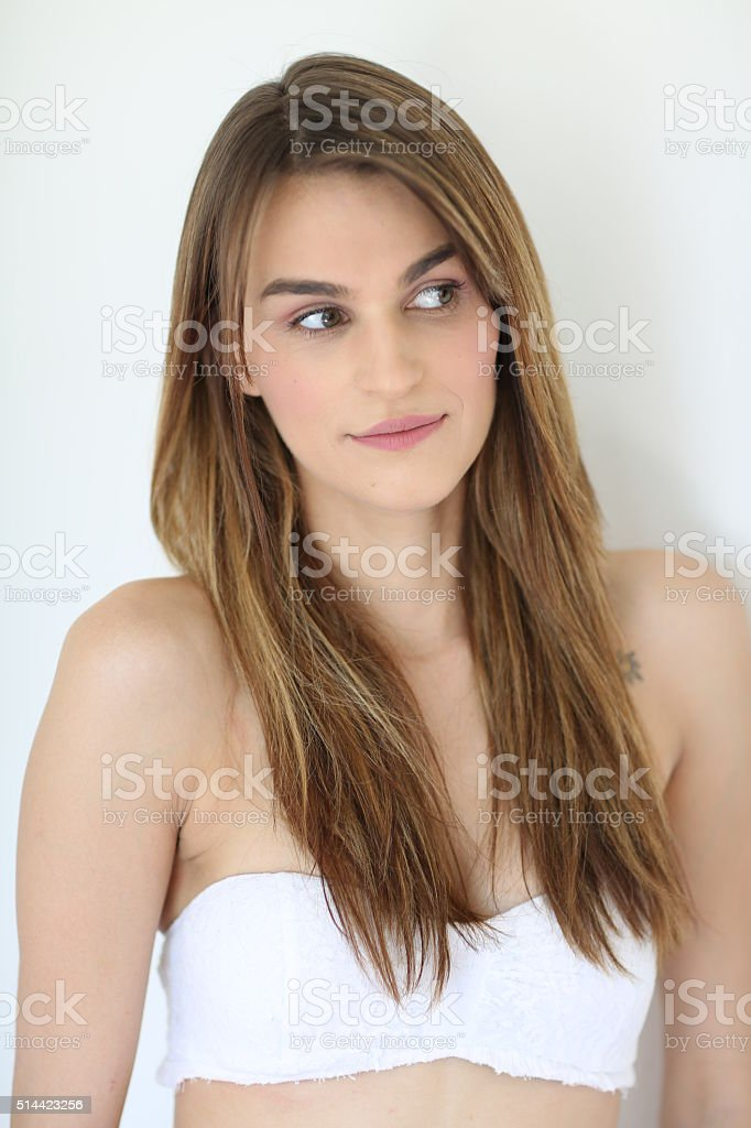 Beautiful sexy woman with straight hair stock photo