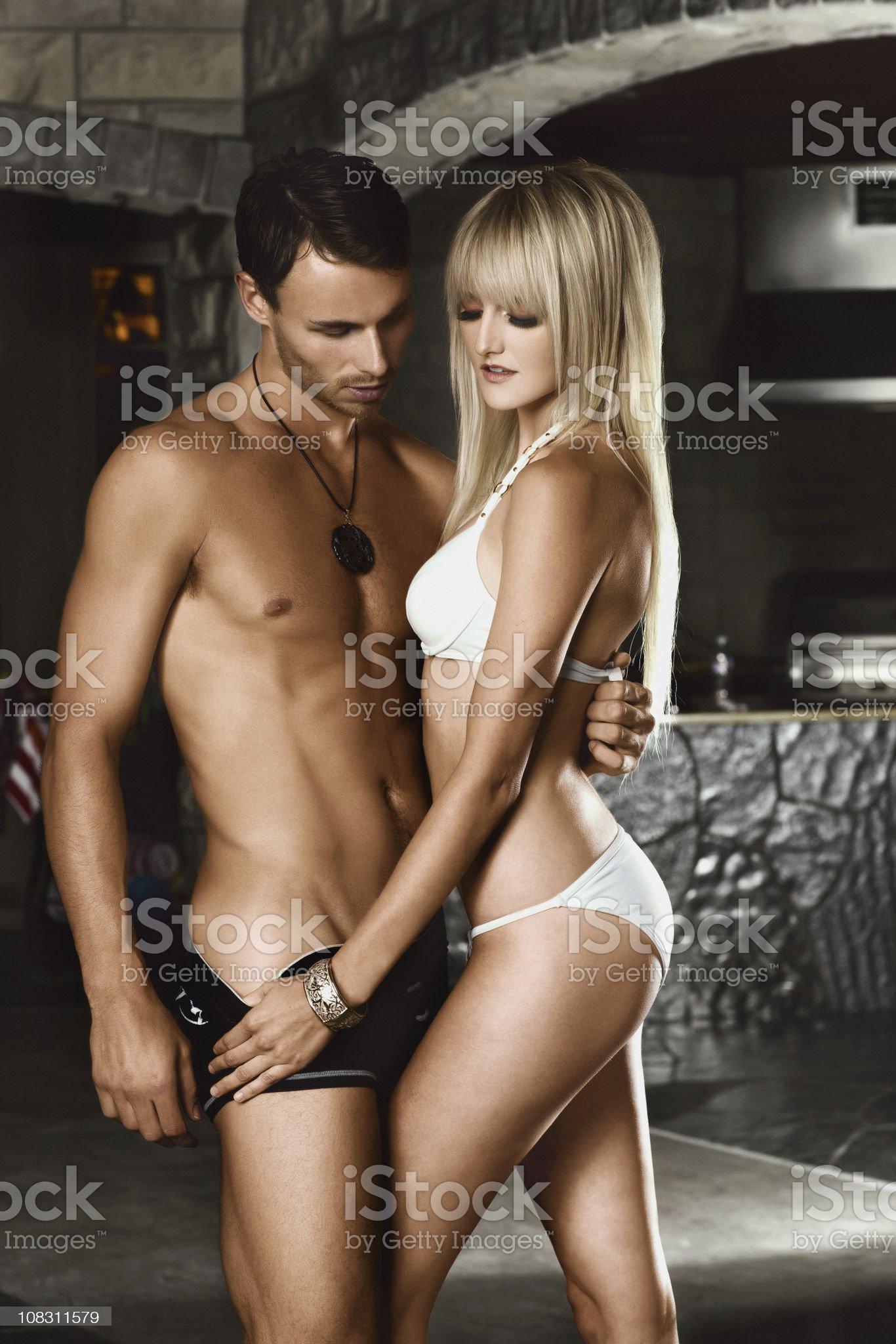 Beautiful Sexy Young Couple Modeling Swimwear royalty-free stock photo