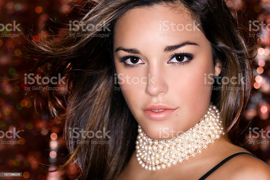 Beautiful Sexy Young Woman Head Shot, Partying at Club stock photo