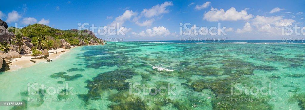 Beautiful Seychelles beach at La Digue stock photo