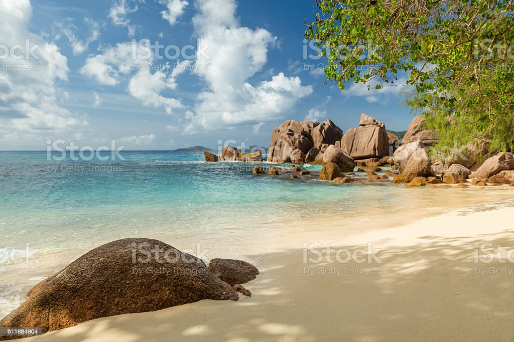 Beautiful Seychelles beach stock photo