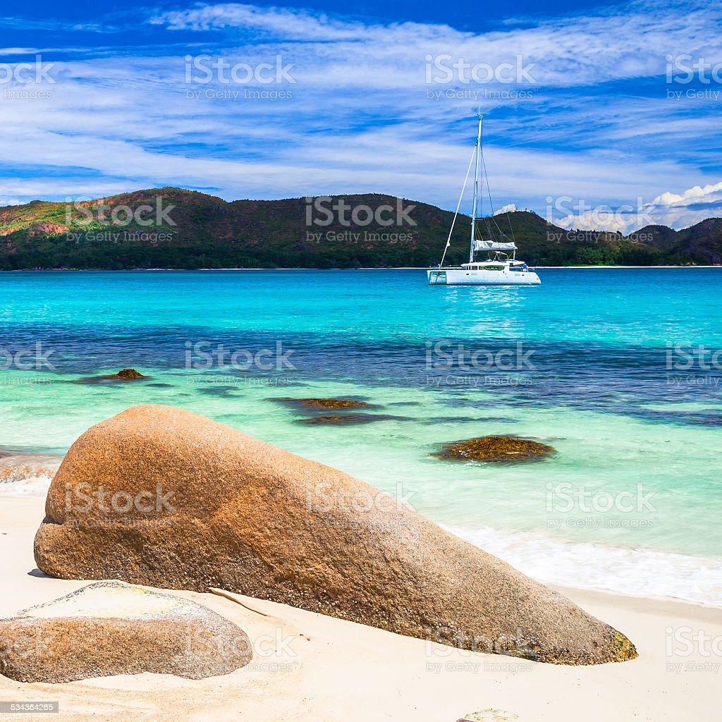 Beautiful seychelles island stock photo