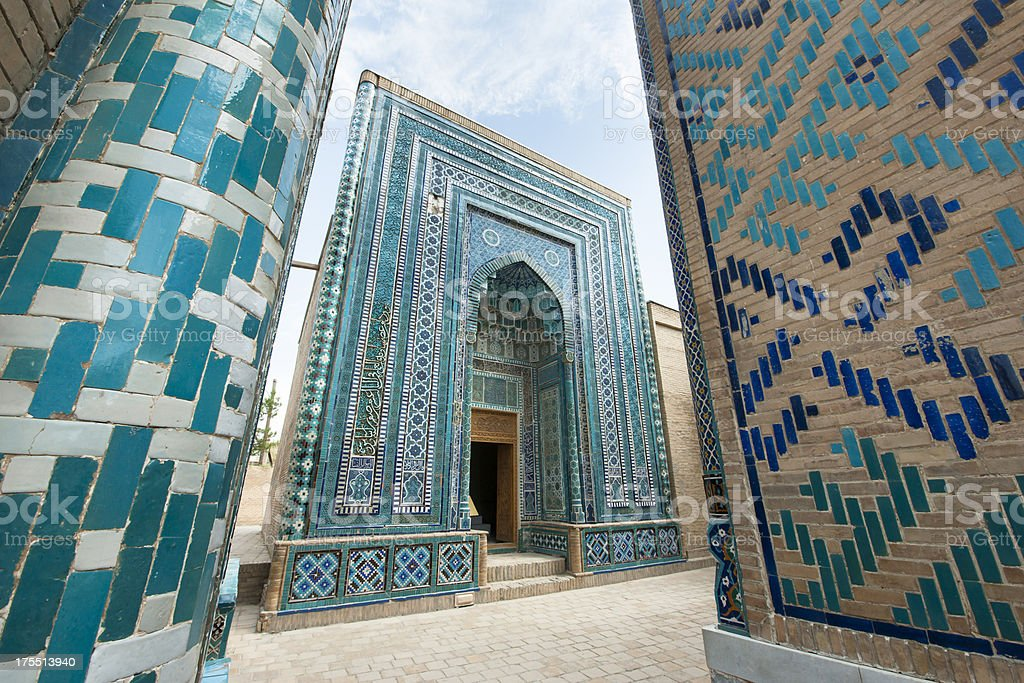 Beautiful Shah-I-Zinda Mausoleums in Samarkand, Uzbekistan stock photo