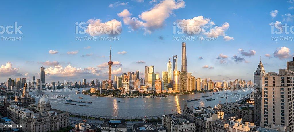 beautiful shanghai in sunset aerial view stock photo