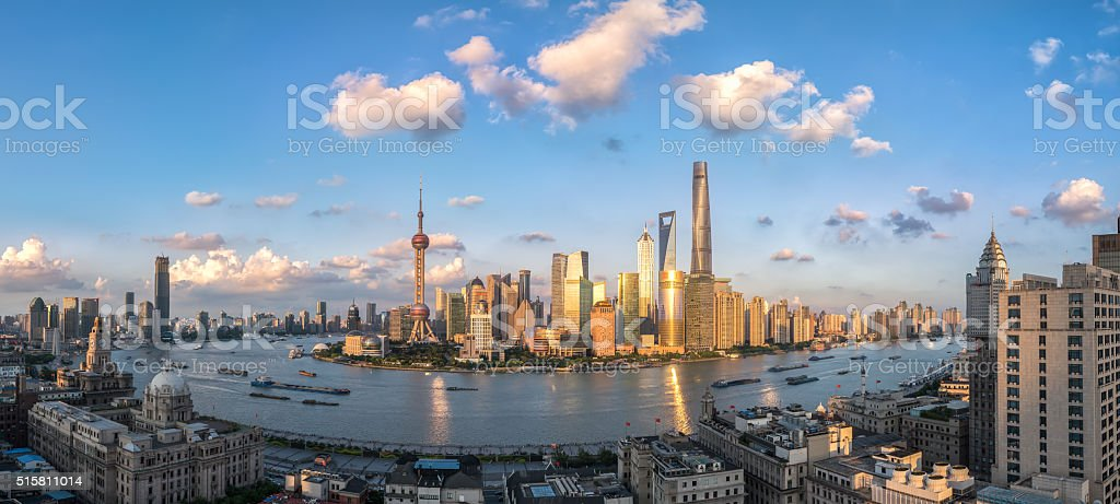 beautiful shanghai in sunset aerial view stock photo