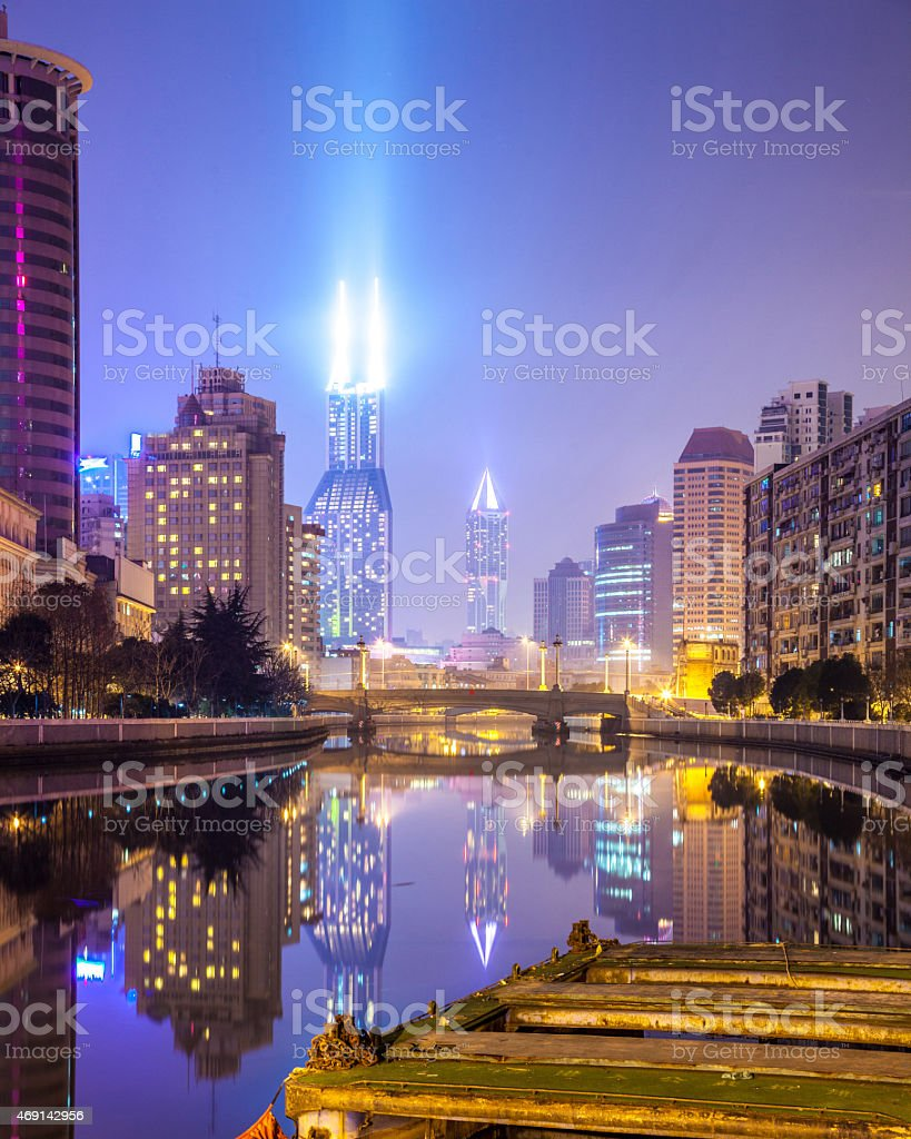 Beautiful Shanghai Pudong skyline at dusk stock photo
