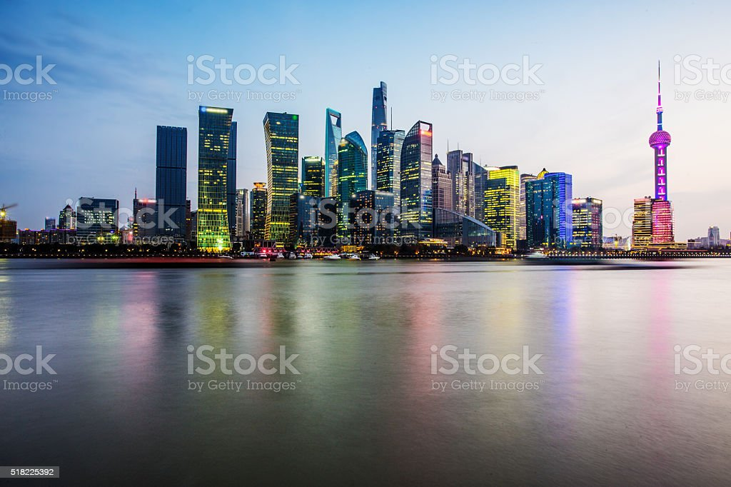 Beautiful shanghai skyline stock photo