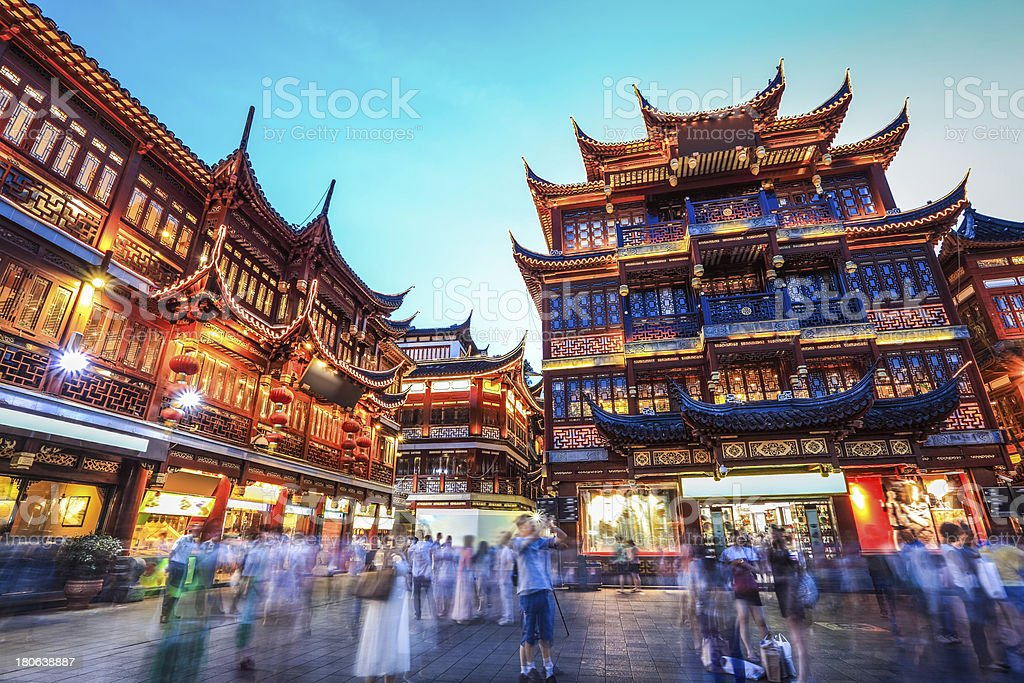 beautiful shanghai yuyuan garden at night stock photo