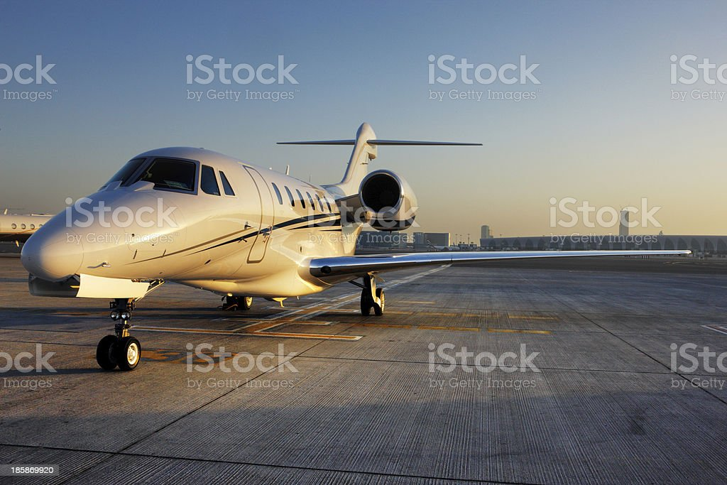 Beautiful shape of a private jet stock photo