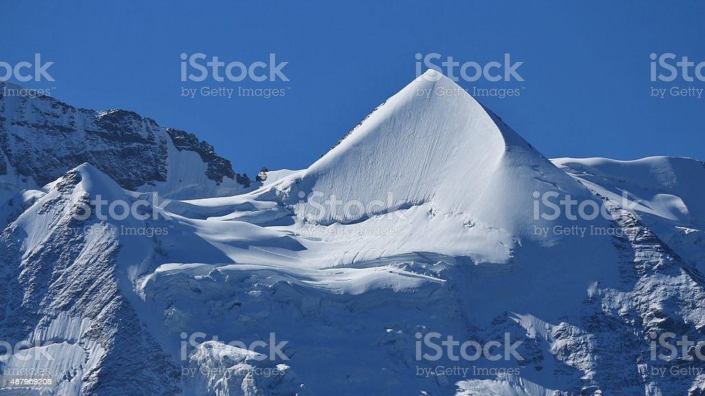 Beautiful shaped Mt Silberhorn stock photo