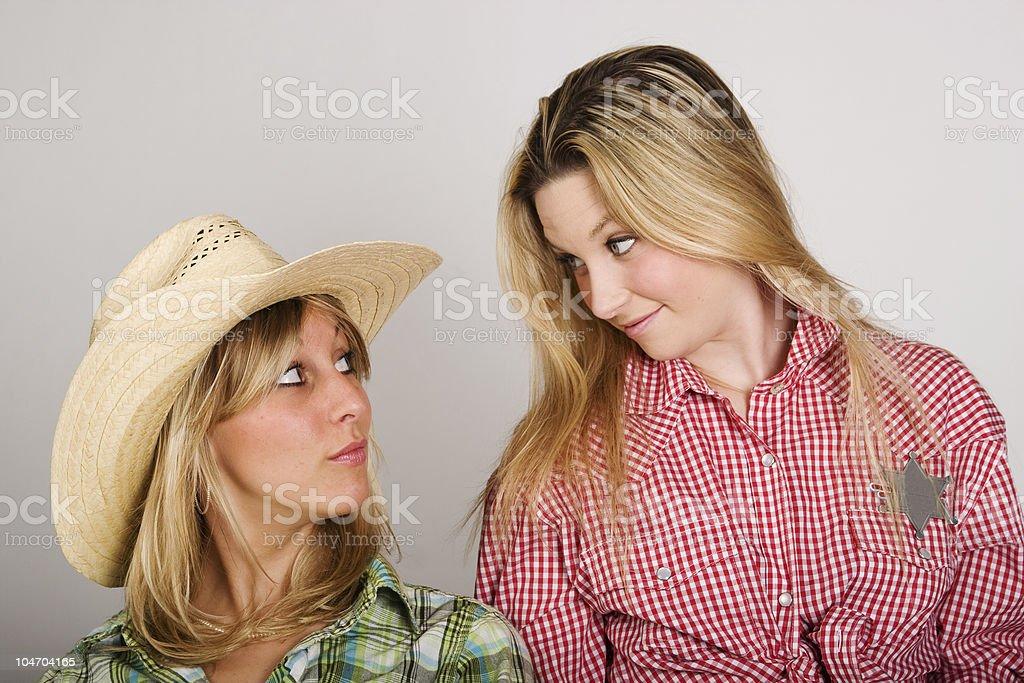 Beautiful Sheriff and her Deputy royalty-free stock photo
