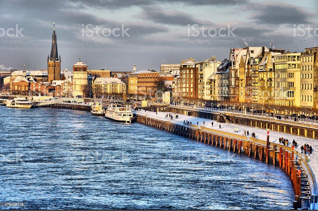 Beautiful shore of Rhein river during day in Dusseldorf stock photo