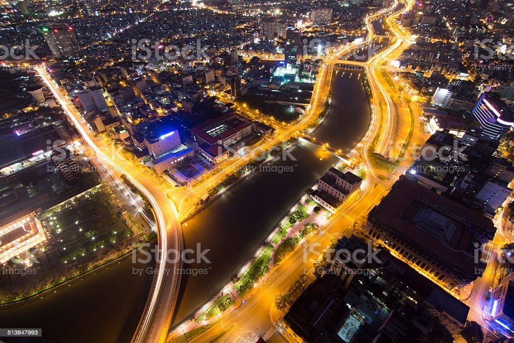 Beautiful shot of Ho Chi Minh City at night royalty-free stock photo