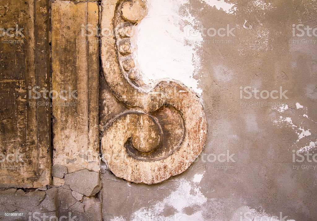 Beautiful Sicilian Stone Wall with Baroque Detail and Copy Space royalty-free stock photo