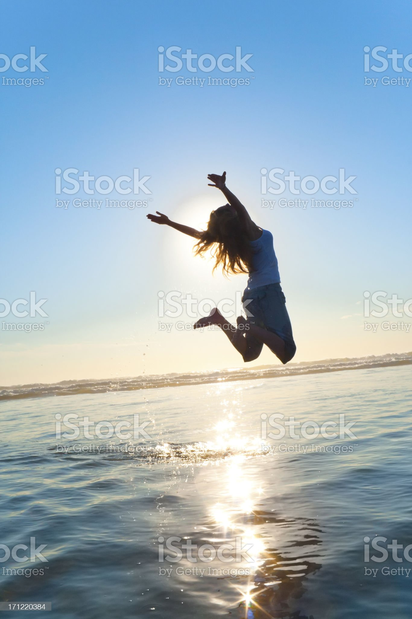Beautiful Silhouette of Jumping Girl royalty-free stock photo