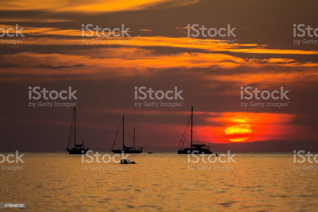 Beautiful silhouette sunset sky at Koh Lipe island, Thailand royalty-free stock photo