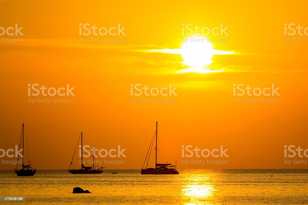 Beautiful silhouette sunset sky at Koh Lipe island, Thailand royalty-free stock photo
