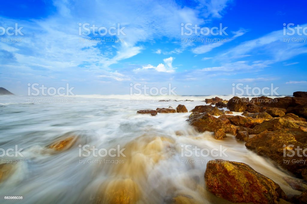 Beautiful silky smooth water at Yarada Beach, Visakhapatnam stock photo
