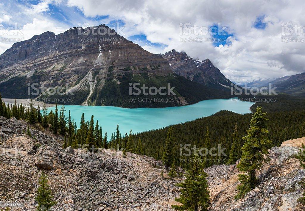 Beautiful, Silty Peyto Lake stock photo