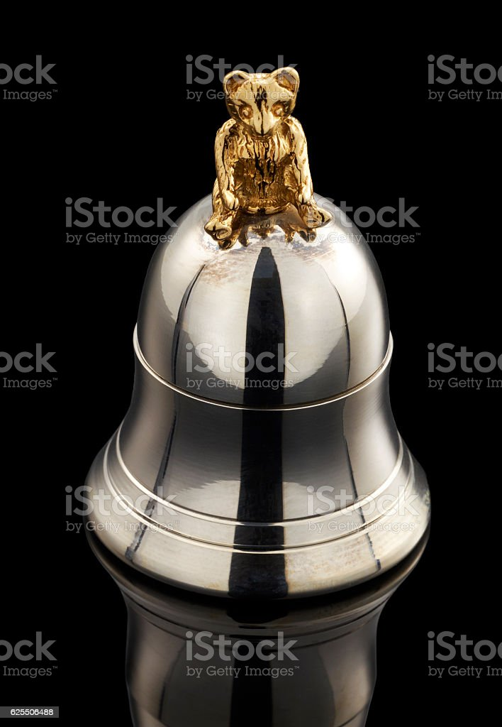 beautiful silver tooth box on black background stock photo