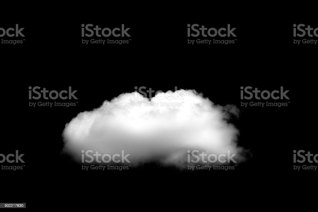 Beautiful Single white cloud isolated over black background stock photo