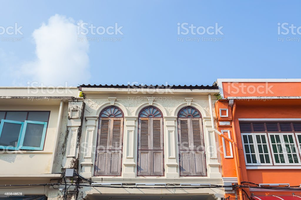 Beautiful Sino-Portuguese Architecture of Phuket old town, Thail stock photo