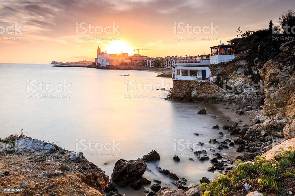 Beautiful Sitges at sunset, Catalonia, Spain stock photo