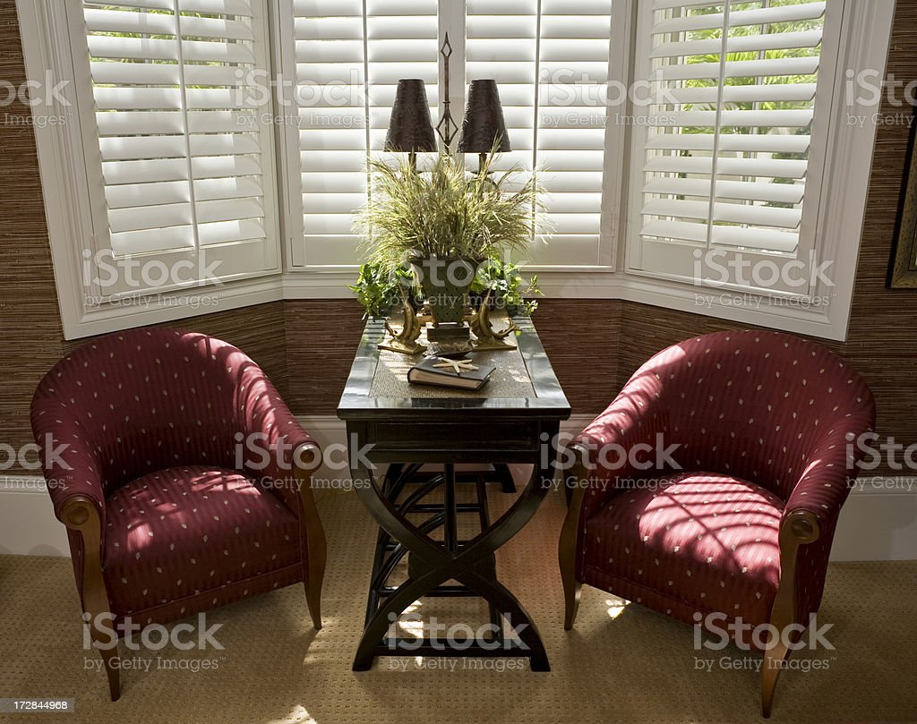 Beautiful Sitting Area in Tropical Estate Home stock photo